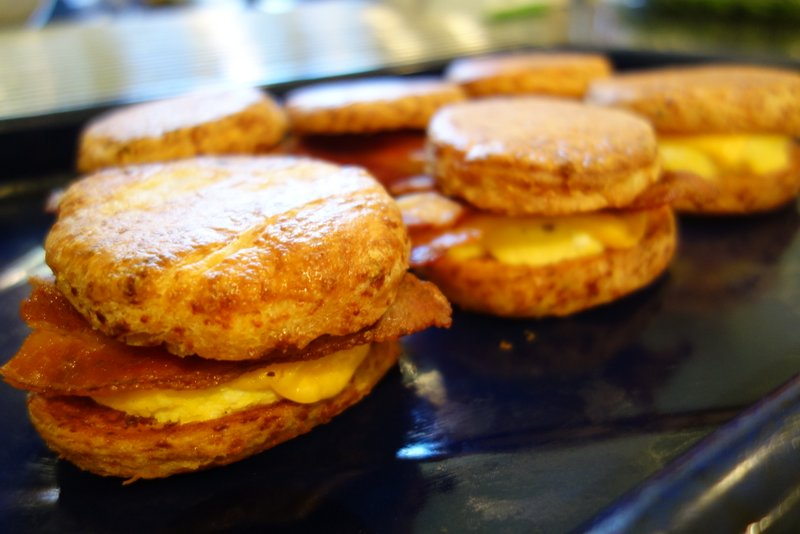 Bacon, egg, and cheese on cheddar biscuits battle-ready
