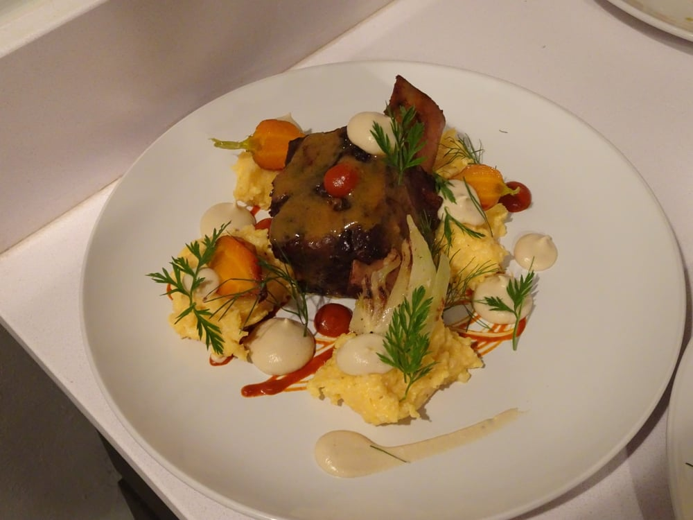 Cheesy Grits, Braised Short Rib, Parsnip Puree, Butternut Squash Hot Sauce, Pickled Fennel.