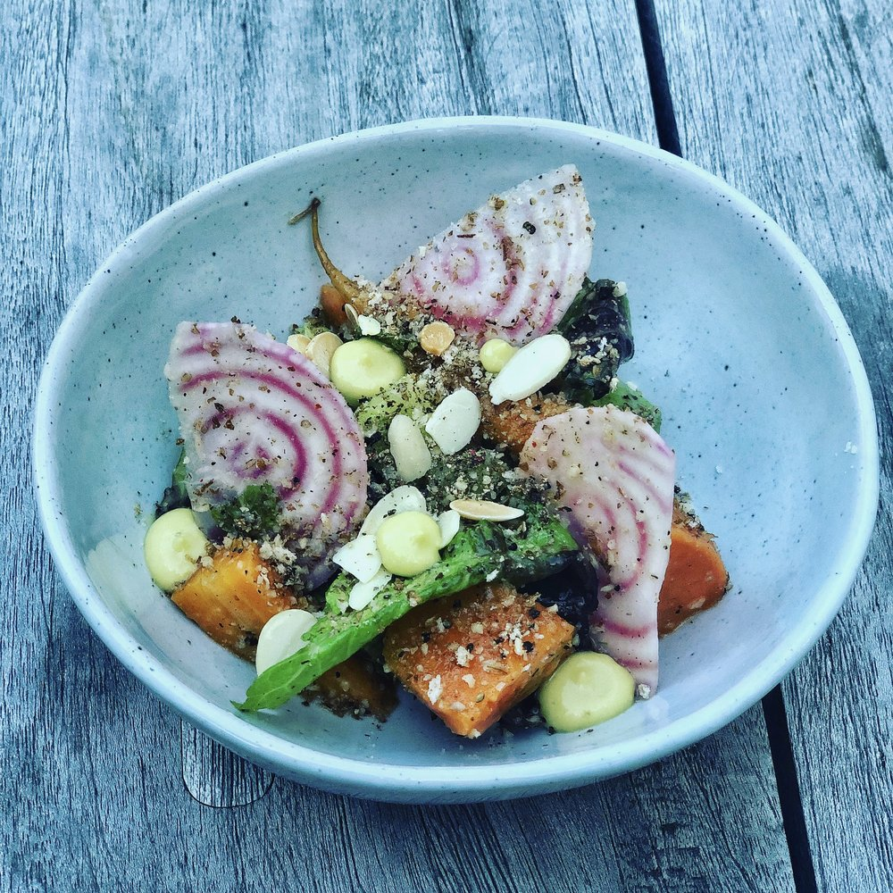 Summer Root Vegetable Salad- Carrot, Sweet Potato, Avocado, Beet, Lettuce, Sesame, Almond.