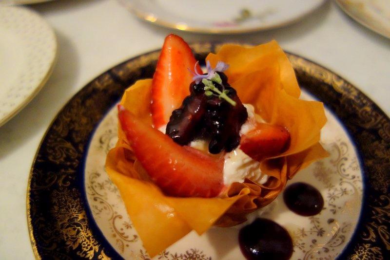 Dessert: Phyllo Dough, Aerated Honey Yogurt, Lavender Sugar Berries, Preserves, Rosemary Flower