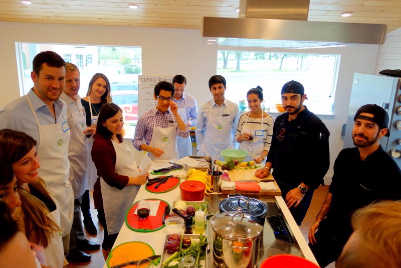 We go around introducing ourselves and rating our cooking skills from 1-10.