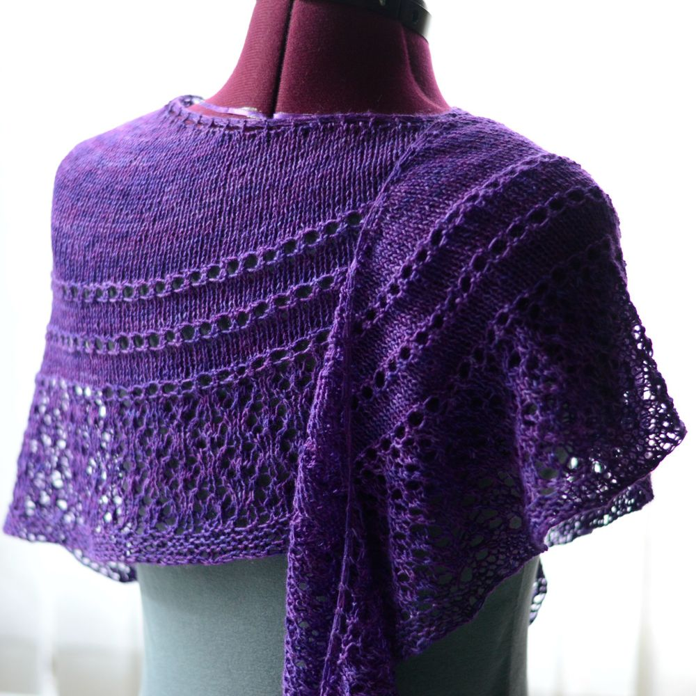 Sugared Violets shawl knit in one twisted tree knight bus escape