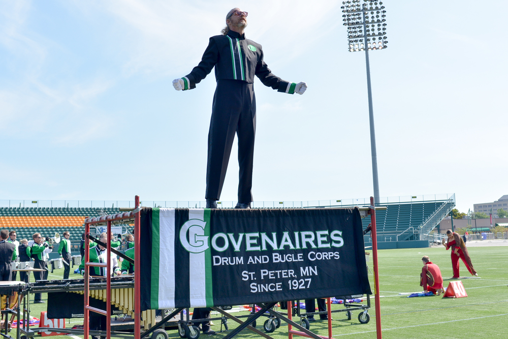Govenaires Drum Major John Mayer interacts with the crowd during the show at the Drum Corps Associates 2014 Championships   Photo provided by corpsreps.com   Full Resolution