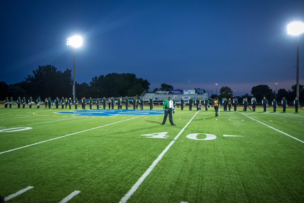 "Govenaires Hornline Member Bobby finishes playing a solo to end a segment of the 2015 production""Outlaw"" at  the Sounds of Minnesota show hosted at St. Thomas Academy in August   Photo provided by TwinCitiesMedia.net   Full Resolution"