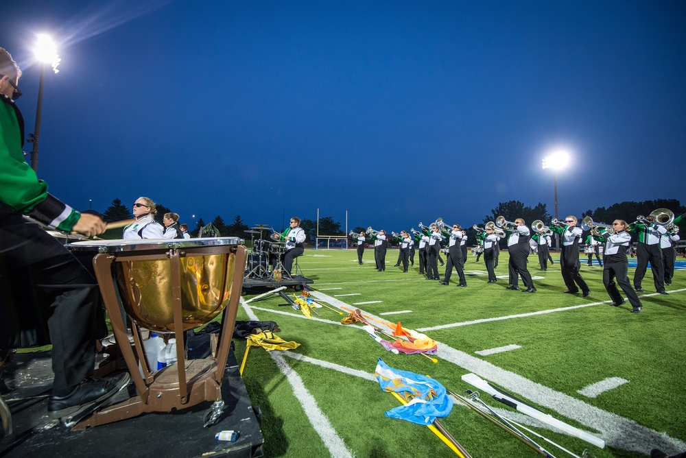 "Members of the Govenaires Hornline and Frontline performing the 2015 production ""Outlaw"" at the Sounds of Minnesota show hosted at St. Thomas Academy in August Photo provided by TwinCitiesMedia.net Full Resolution"