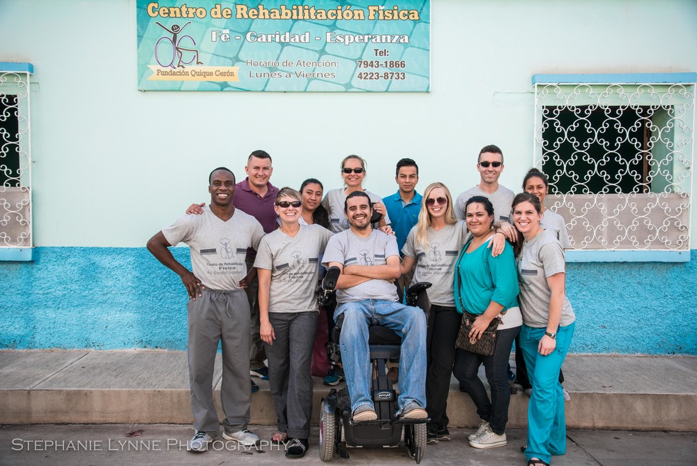Quique Ceron and a recent team of PT's supporting the clinic