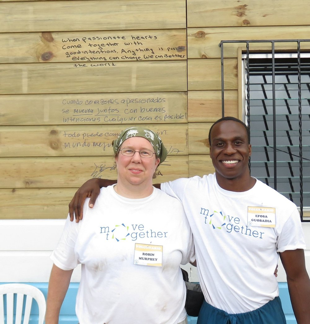 Robin and Efosa outside the brand new PT Clinic in Villa Nueva, Guatemala