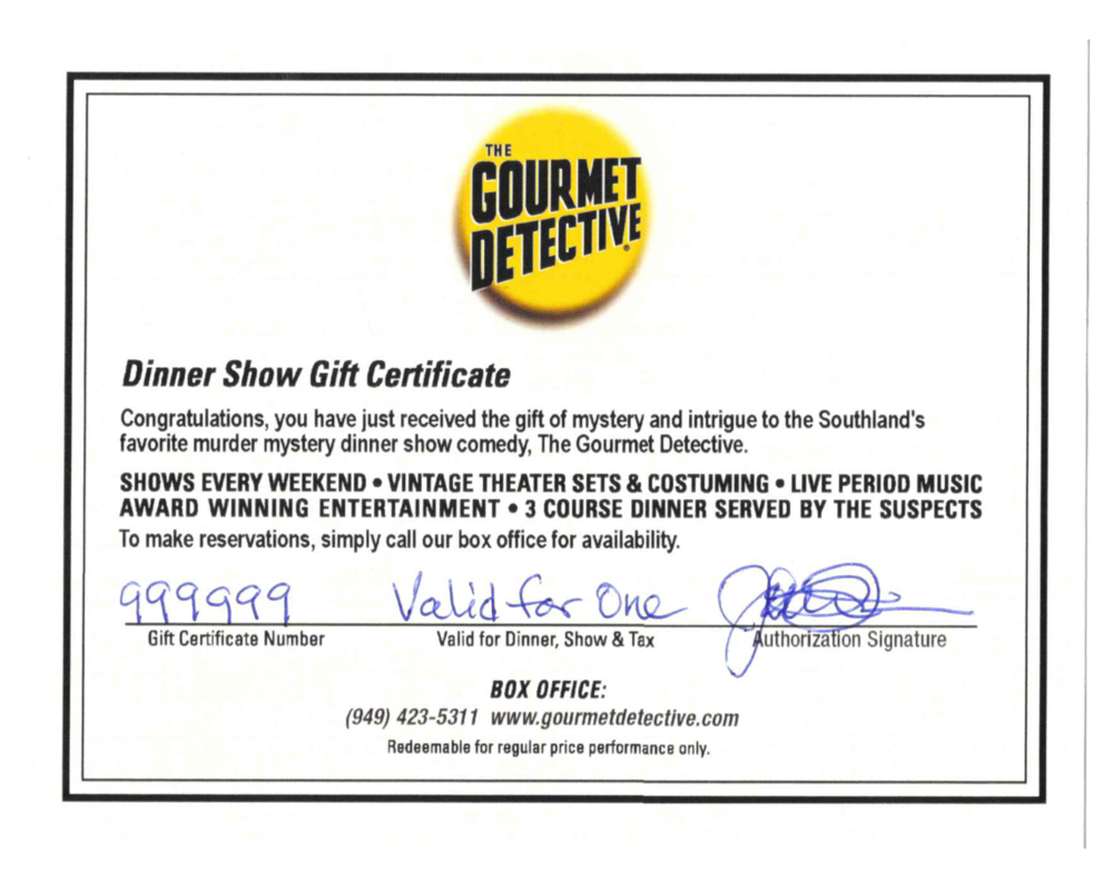 gift certificate the gourmet detective murder mystery dinner show