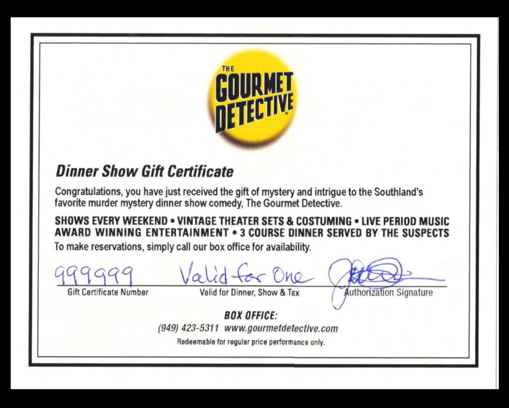 Gift Certificate The Gourmet Detective Murder Mystery Dinner Show