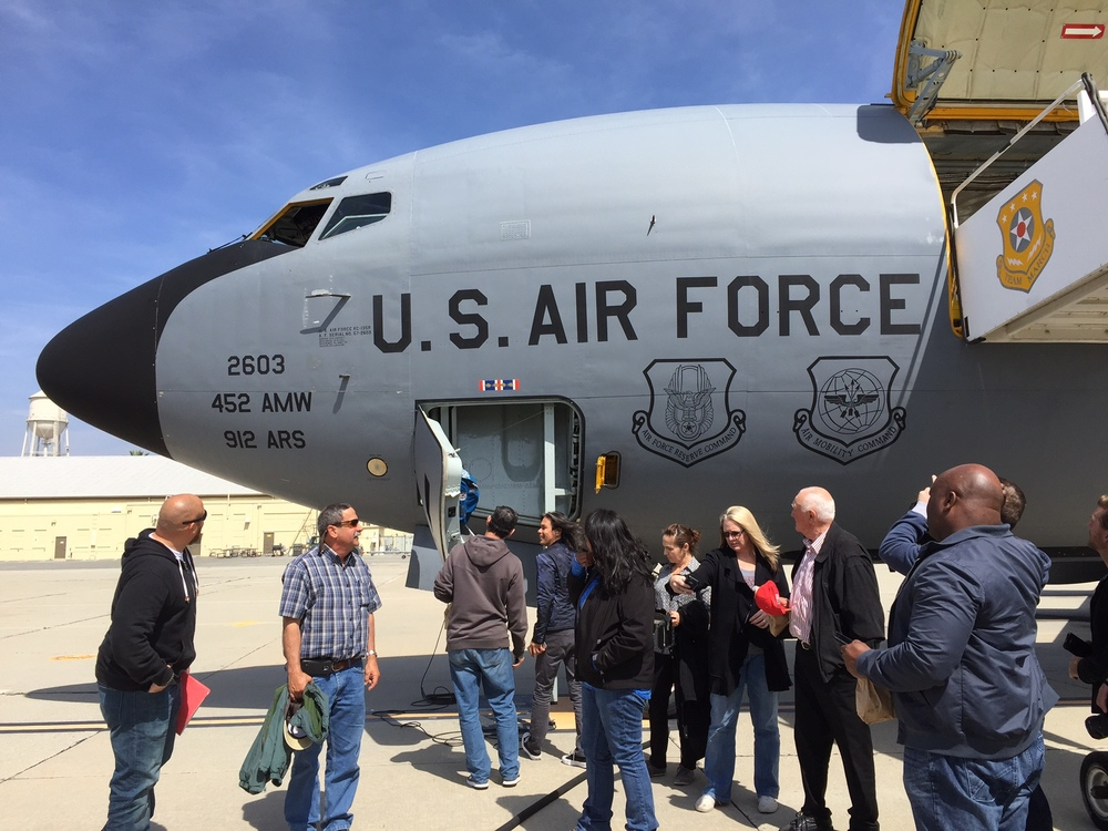 Employers gather in front of KC-135 jet at March Air Force Base for Employers Appreciation Event.