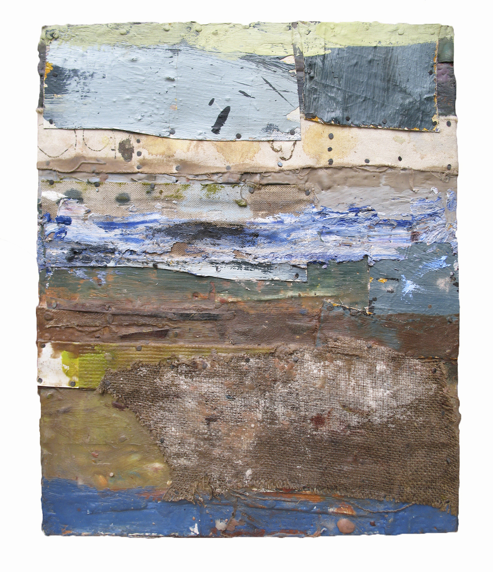 DEPARTURE, 2007  Encaustics and mixed media on panel  17 1/2 14 1/2 inches