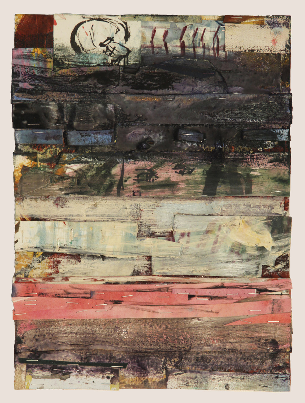 EVERY NEAR MISS, 2016  Encaustics and mixed media on paper  15 x 11 1/4 inches