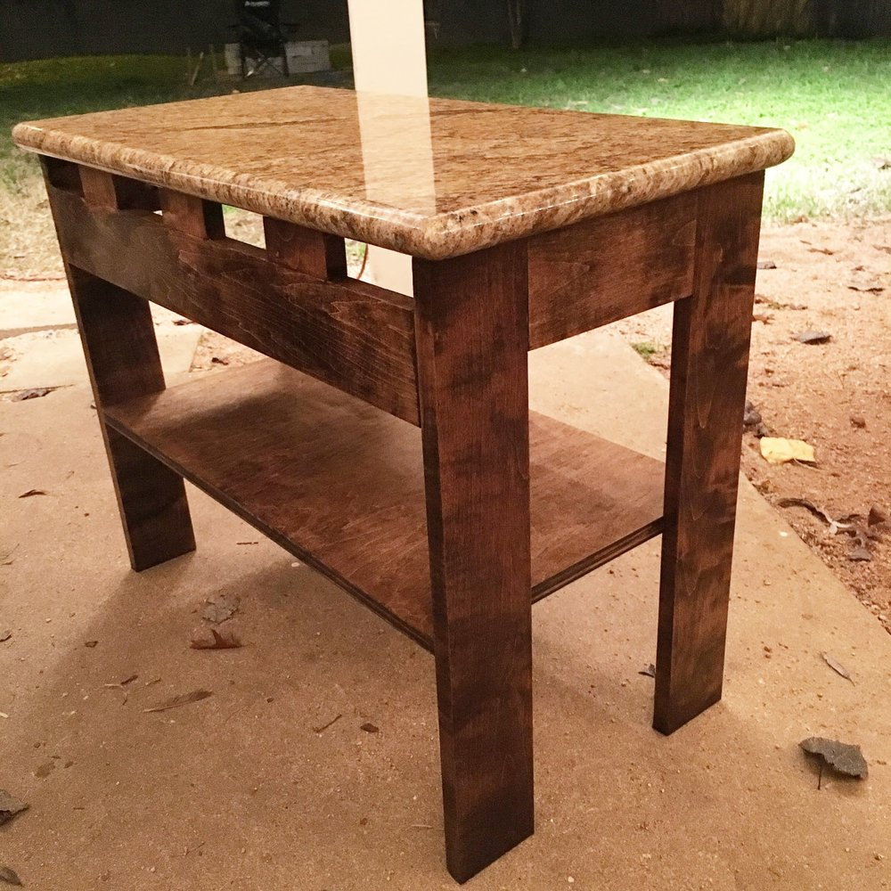 Marble and Maple Side Table