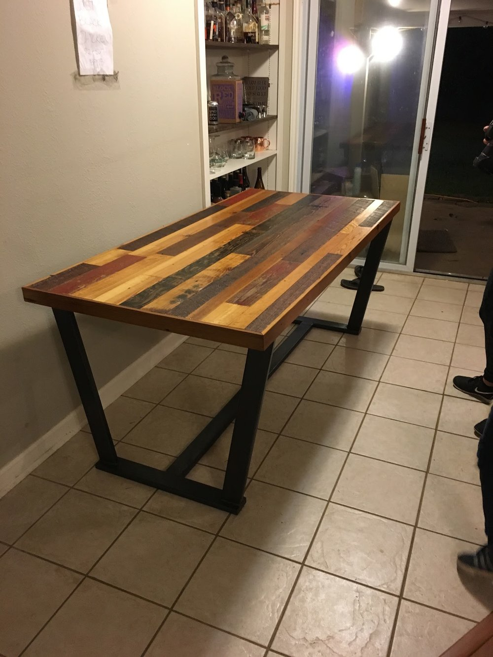 Barnwood Table w/ Custom Welded Base