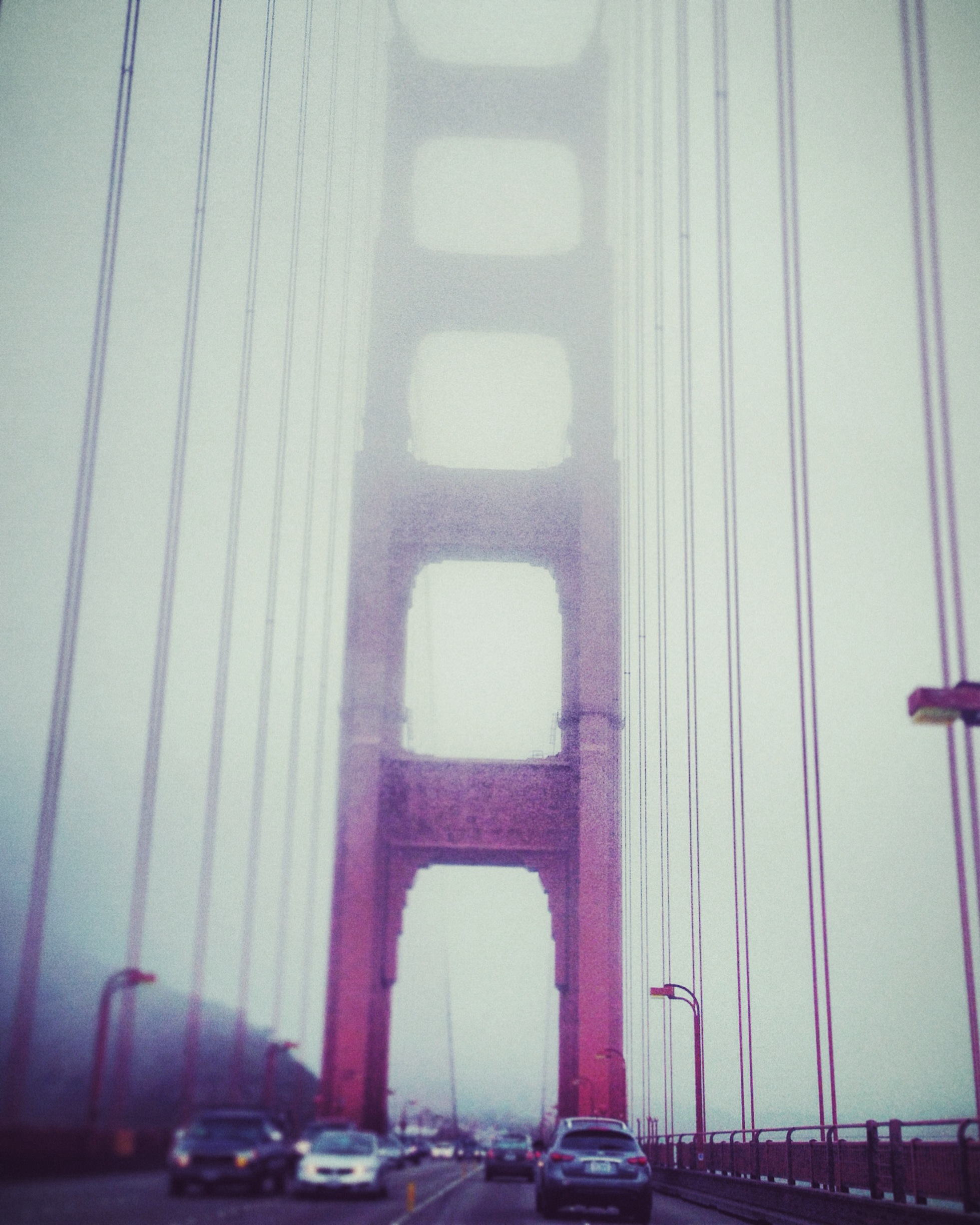 A foggy morning drive over the Golden Gate Bridge.