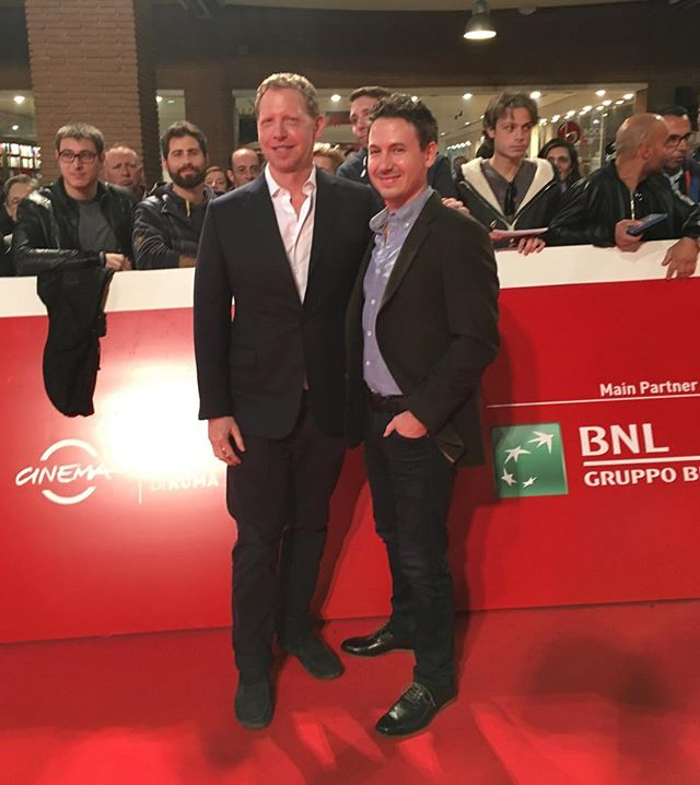 Director Matt Tyrnauer and Producer Corey Reeser on the red carpet at #RIFFXIV for Scotty and the Secret History of Hollywood. #scottybowers #fullservice #scottythemovie #romefilm #redcarpet