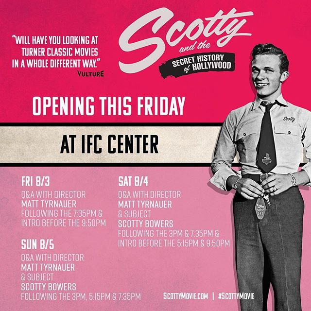 If you're in New York, be sure to catch #scottyandthesecrethistoryofhollywood at the IFC Center this Friday through Sunday! We hope to see you there!