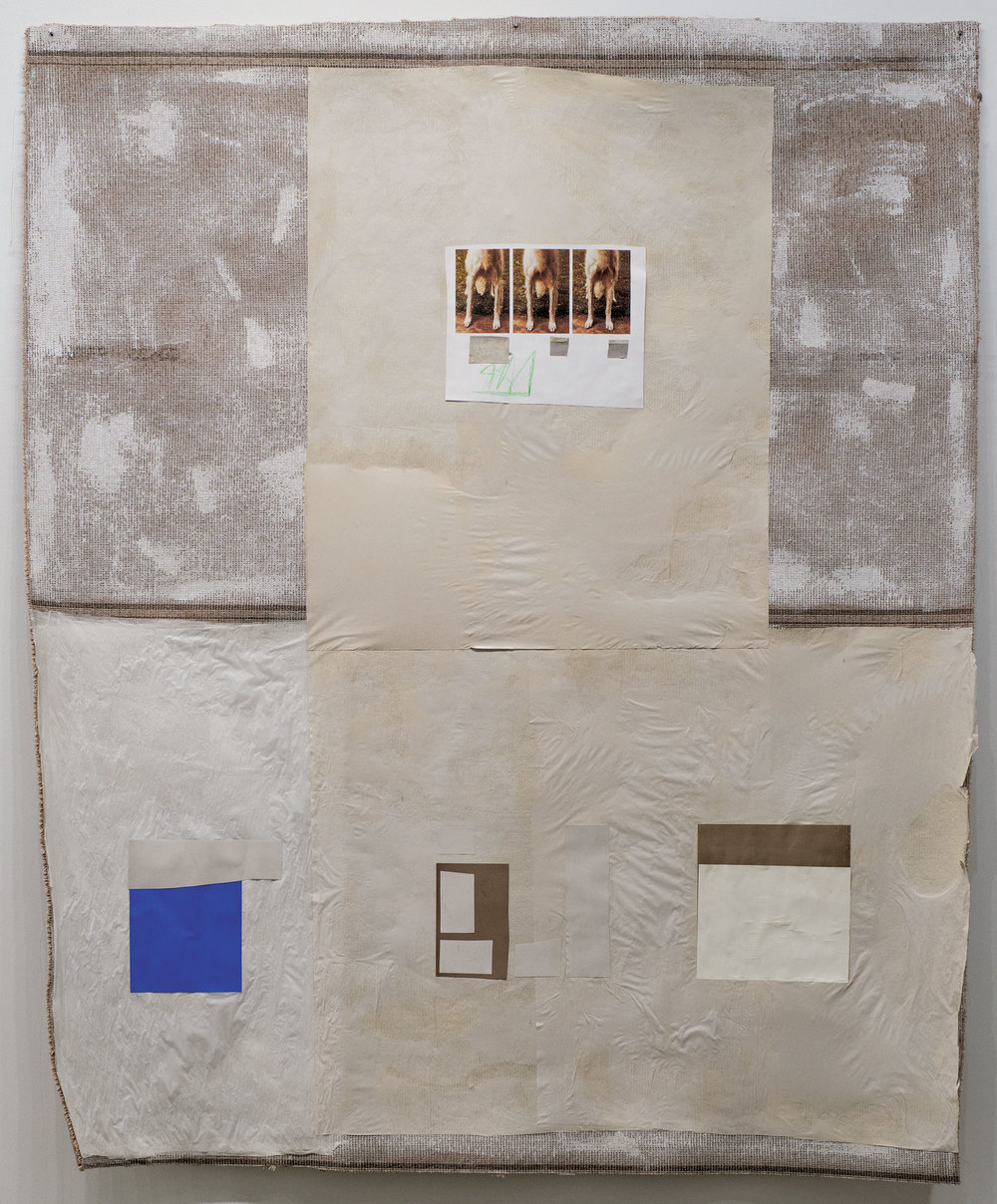 "Idiotic and Profound: The Best Front     found imagery, colored pencil, and paper on carpet    90"" x 70"""