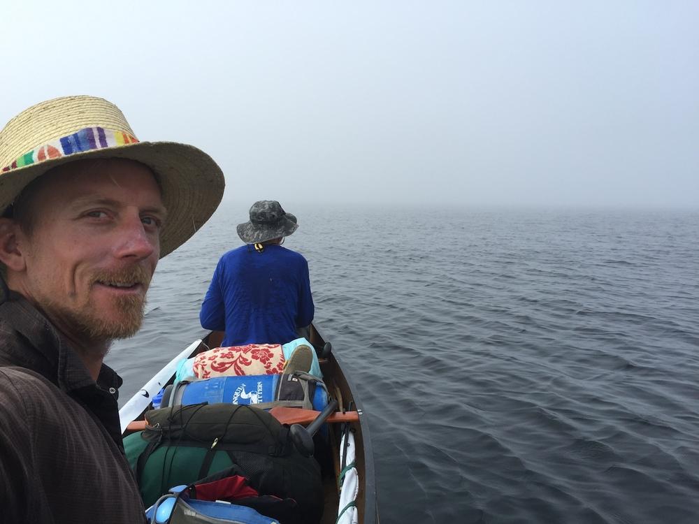 canoeing in the fog.