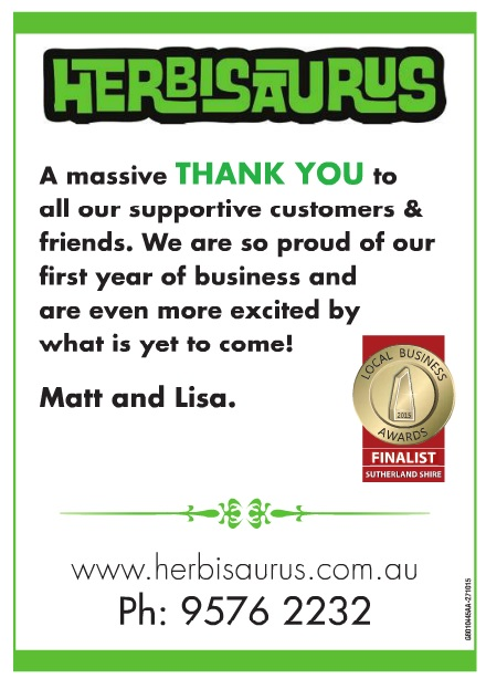 This was a shout out to our supporters for electing us as finalists in the Sutherland Shire 2015 Local Business Awards. Printed in The Leader on Tuesday 27th October, 2015.