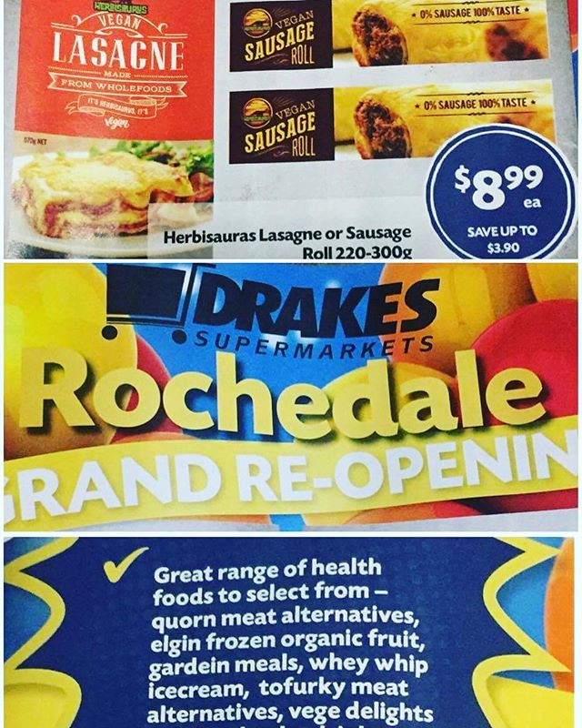 We are in a catalogue!!! 😁 And Herbisaurus is on sale, woohoo!! If you're anywhere near Drakes Rochedale be sure to pop in and show them some support for the grand reopening 👏 #localshoutout #drakesrochedale #vegan #veganfood #vegansofbrisbane #vegansofig @drakessupermarkets #rochedale #catalogue #sale #herbisaurus #plantbased #crueltyfree #yay
