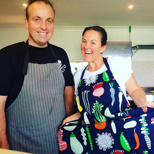 New aprons!! 😄 Well, Matt got his wet in the first 10 mins, but that's what they're for, right?! 😋 Any apron with veggies on it is ok with me 💚 #aprons #lovethem #thisisexciting #kitchen #veganbusiness #vegan #vegansofaustralia #crueltyfree #pretty #veggies