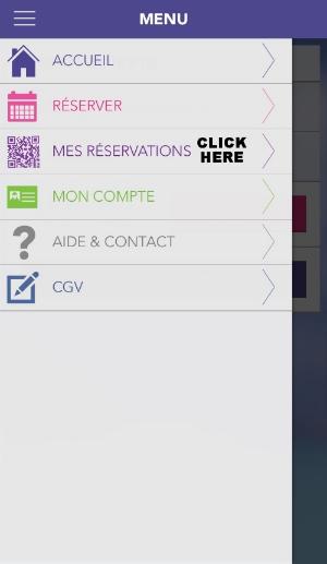 "Click ""Mes Reservations"""