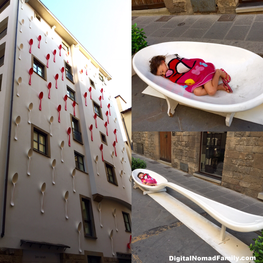 The doorman at Gallery Hotel Art in Florence helped us finally get a taxi... the spoons covering the hotel were hilarious!