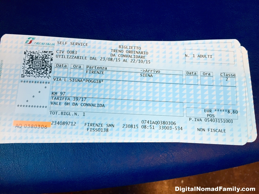 Our unused train tickets to Siena