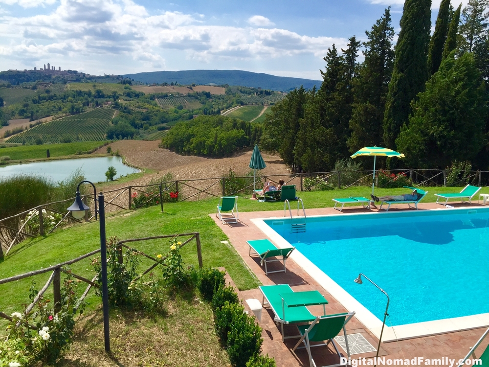 The gorgeous view of Tuscany and San Gimignano from our winery lunch