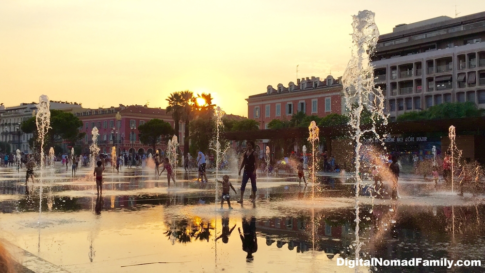 Fountains of Promenade du Paillon, next to Place Massena in Nice, France