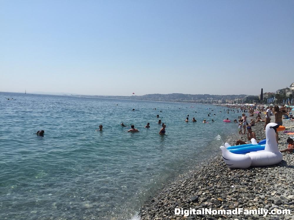 Pebbly beach of Nice, France