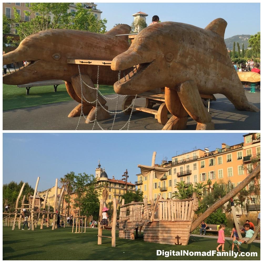 Amazing playground on Promenade du Paillon in Nice, France
