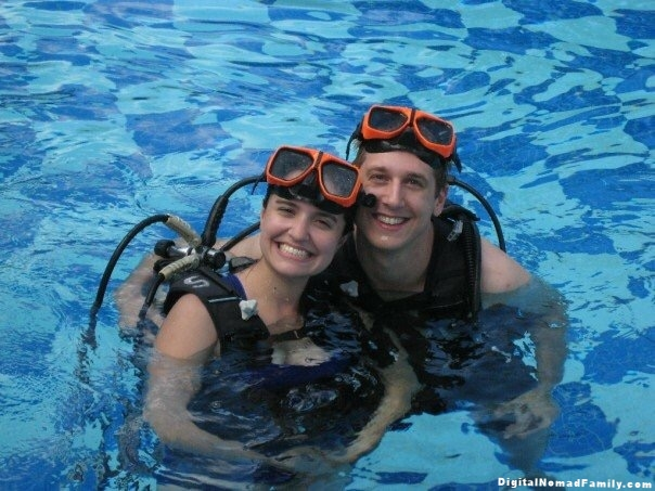 Learning to scuba dive at Sandals resort in St. Lucia