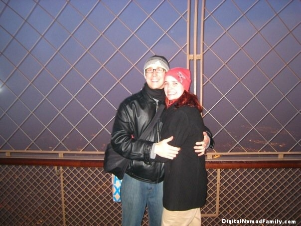On top of the Eiffel Tower on Valentine's Day in Paris