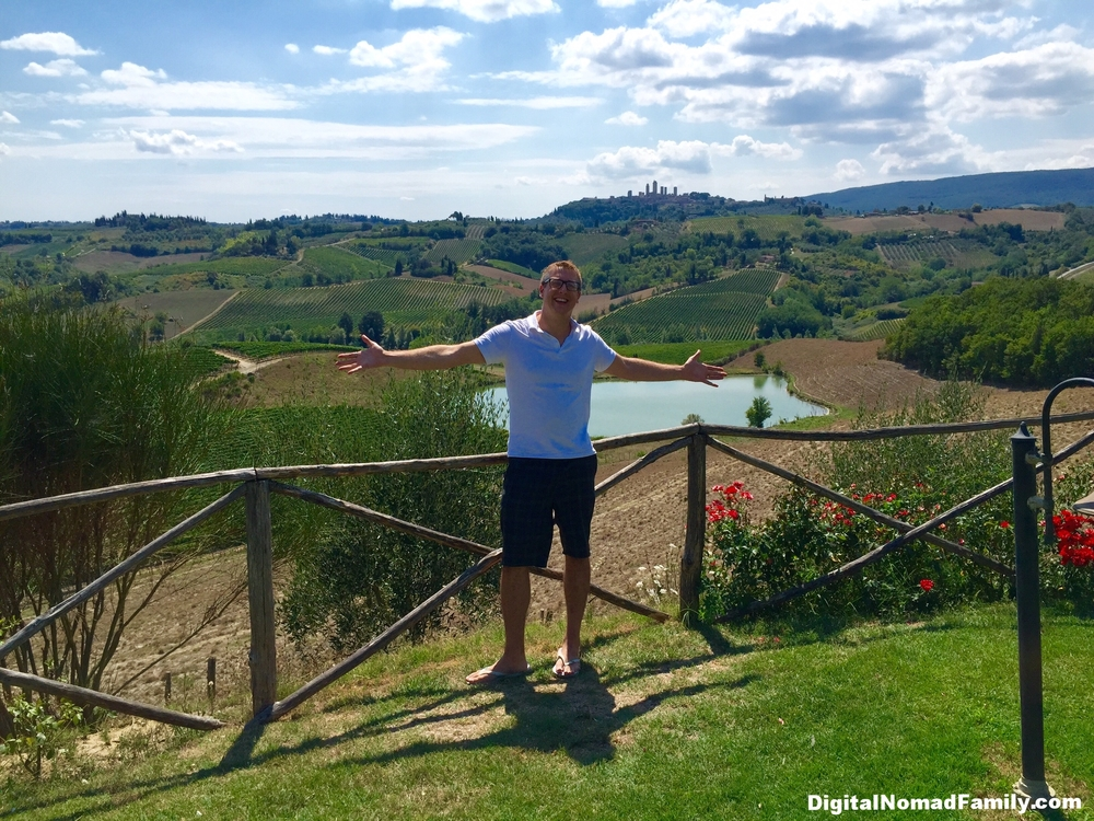 Having a wonderful time at a Tuscan winery after we reunited with our tour group