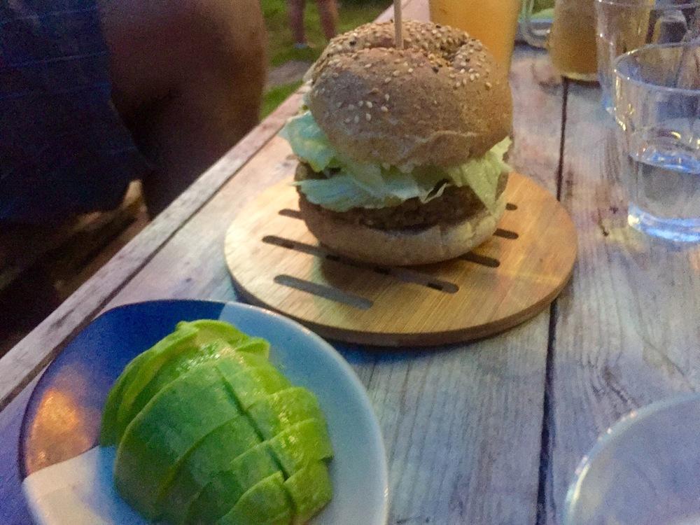 Fantastic veggie burger with avocado