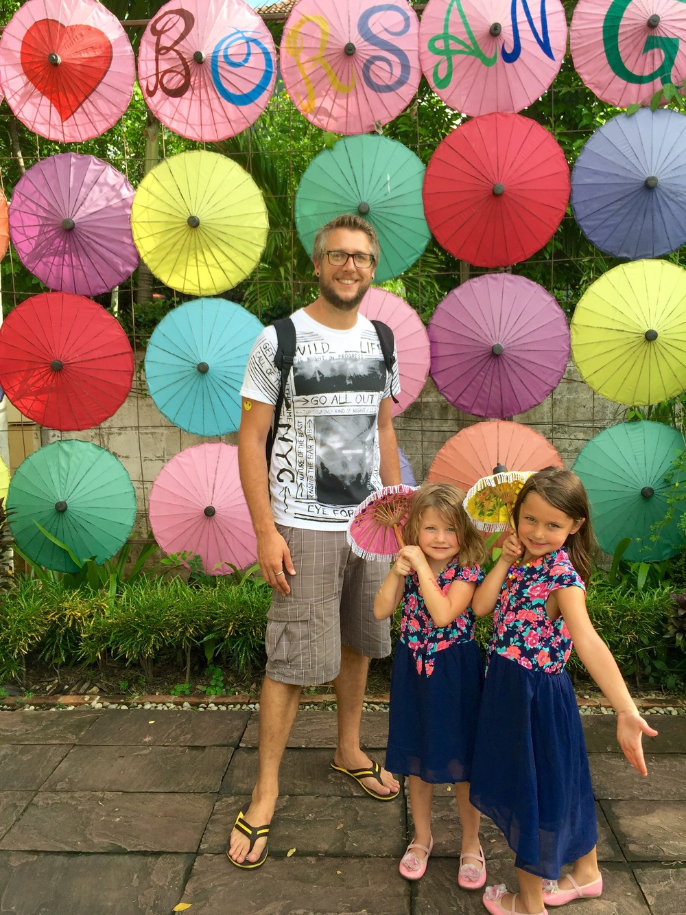 Joshua, Juliet, and Abby at Bo San Umbrella Village