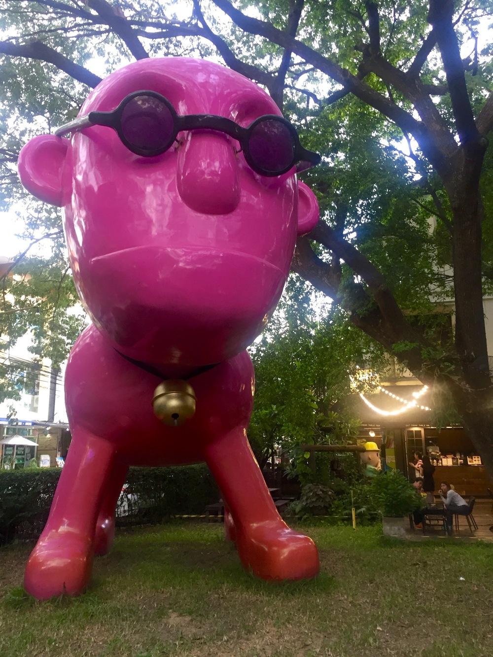 Fun dog sculpture at iBerry Garden in Chiang Mai