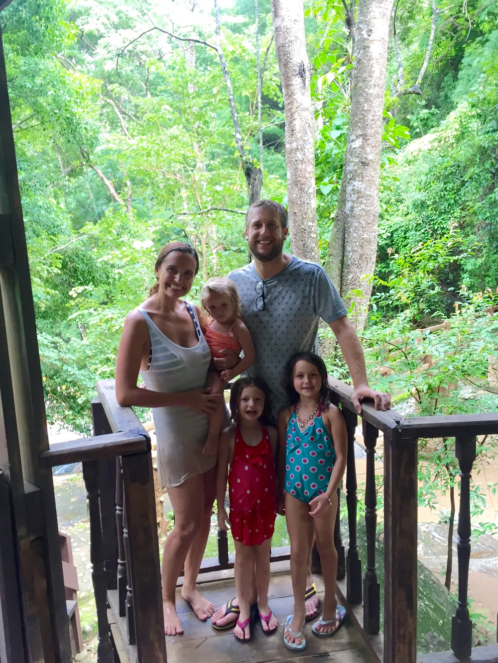 On an overlook at Level 5 of Mae Sa Waterfall Park
