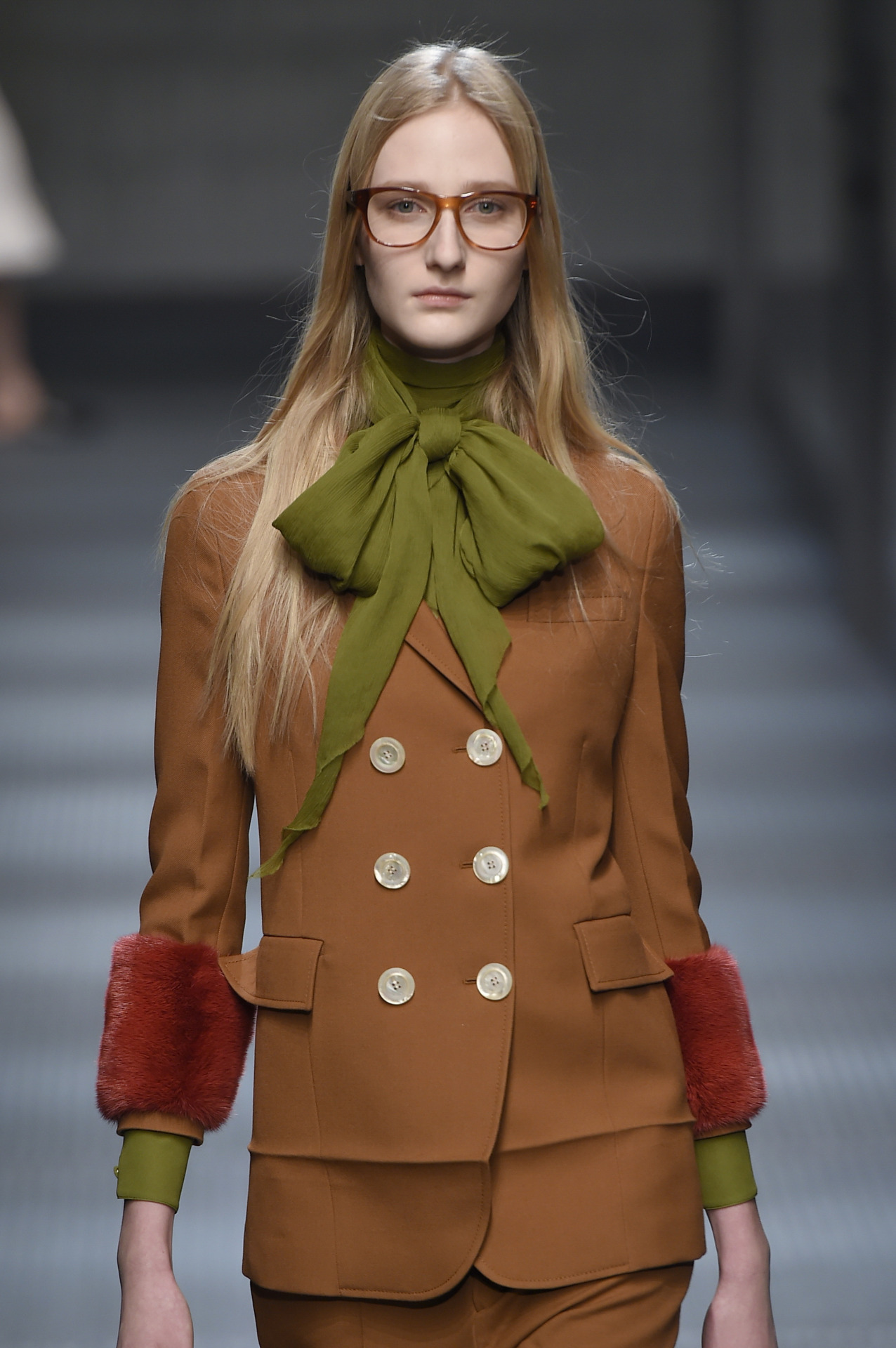 wgsn :     A touch of 70's geek chic at the  @gucci  #aw15 show #MFW