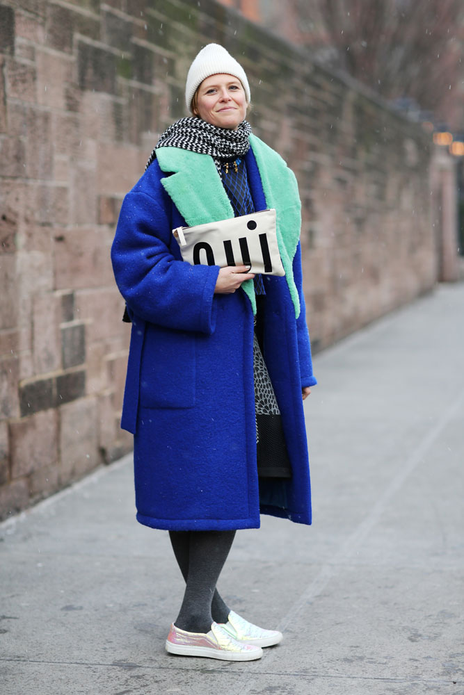 """wgsn :     This #NYFW #AW15 attendee is showing her fashion week positivity with a bag that just screams """"yes""""! WGSN street shot, New York Fashion Week"""
