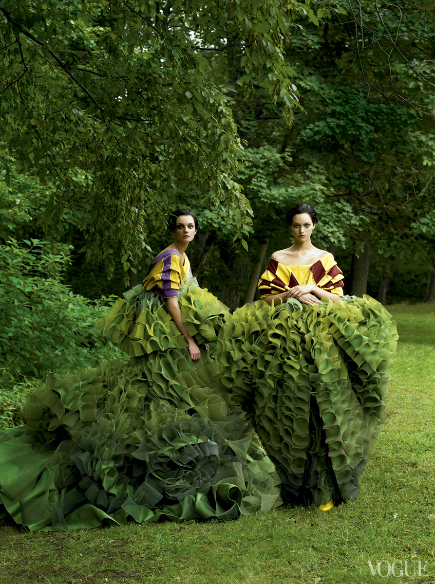"vogue :     Karl Lagerfeld's latest couture show at Chanel got us thinking about the green thumbs that have sprung up in our archives …    Here, ""John Galliano's topiary dresses for Christian Dior Couture gracefully defy all laws of nature.""     Caroline Trentini and Gemma Ward photographed by Steven Meisel, Vogue, December 2006"