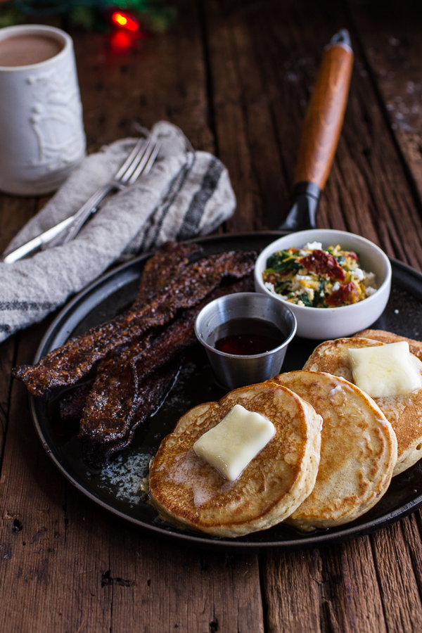 do-not-touch-my-food :      Buttermilk Ricotta Pancakes with Maple Candied Bacon and Eggs