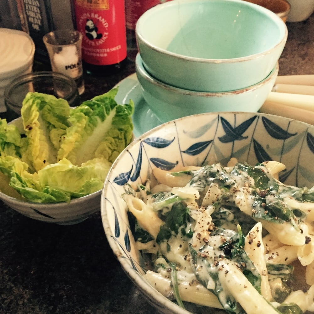 Rachel Redlaw stilton and spinach pasta