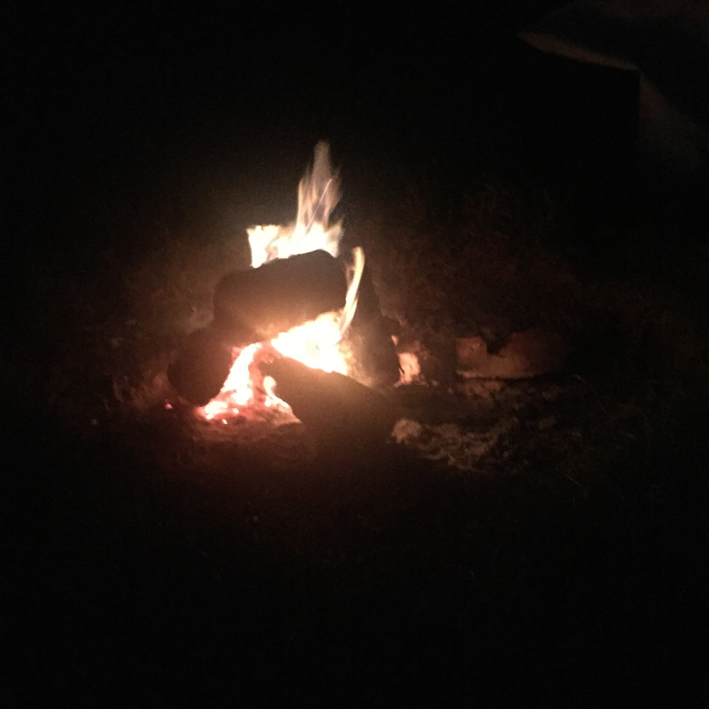 Rachel Redlaw camping campfire