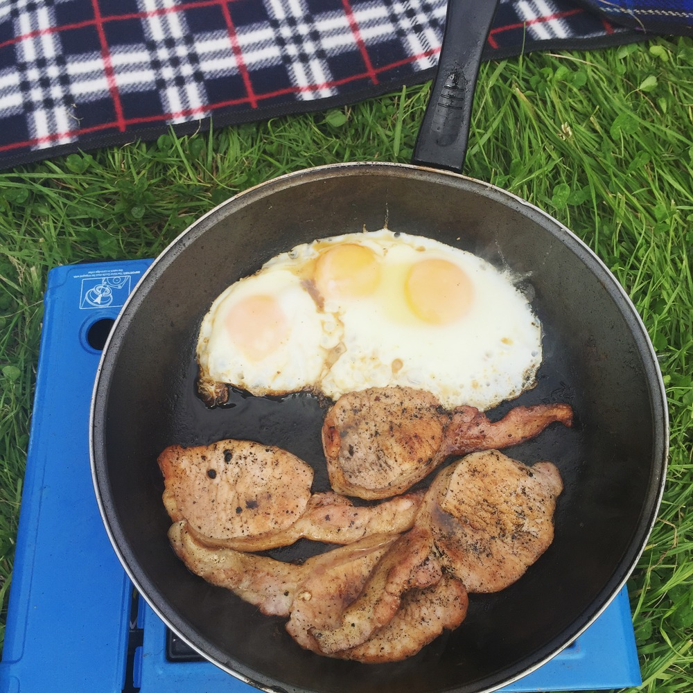 Rachel Redlaw breakfast cooking camping camp stove
