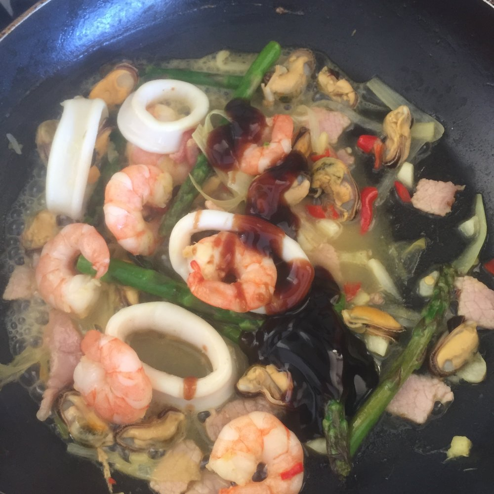 Rachel Redlaw seafood stir fry with chilli and lime