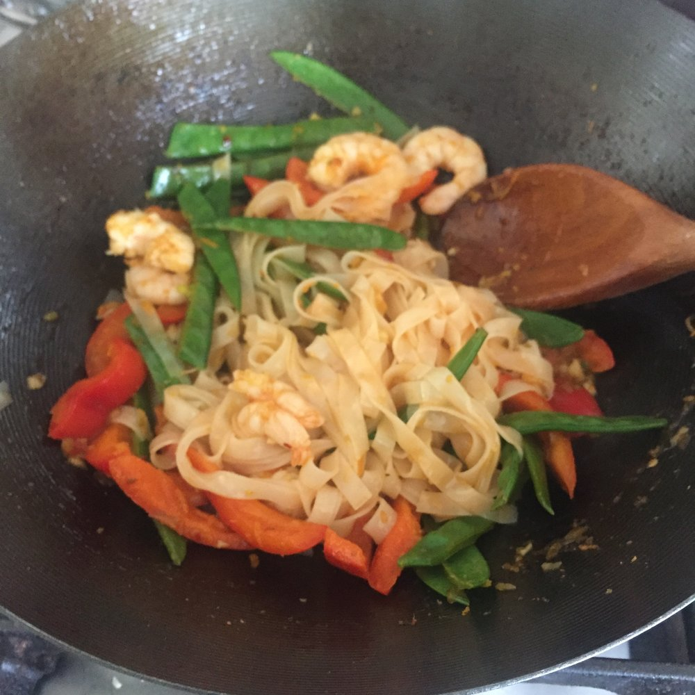 Rachel Redlaw Thai prawns and ginger noodles