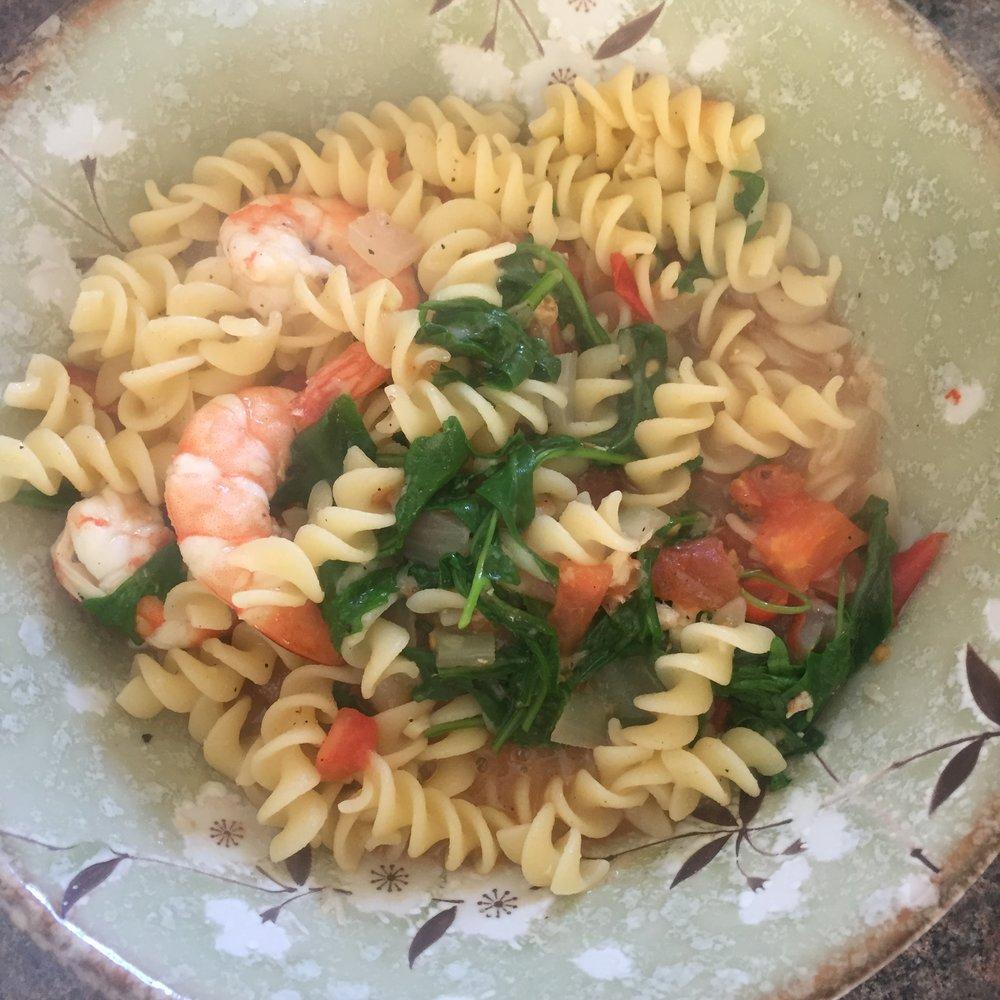 Rachel Redlaw prawn tomato rocket pasta